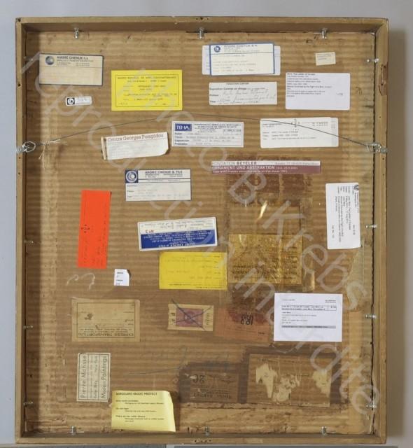 La qualité d'une oeuvre se voit aussi au dos...avec les étiquettes d'expositions.